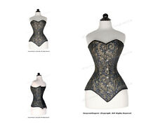 26 Full Double Steel Boned Waist Training Brocade Overbust Corset #8586-BRO