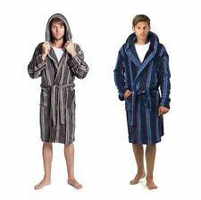 RRP £29.99 New Mens Boys Hooded Dressing Gown Polyester Fleece BLUE GREY 31B181