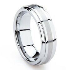 Unisex 8mm Silver Tungsten Ring Mens Wedding Band Brushed Center Step Edge High