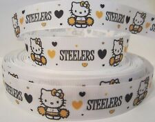"GROSGRAIN PITTSBURGH STEELERS FOOTBALL HELLO KITTY 7/8""RIBBON 1, 3, 5 YARDS*"