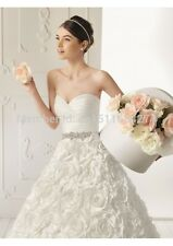 New White/Ivory Wedding dress Bridal A-Line flowers  Size2- 4-6-8-10-12-14-16-18