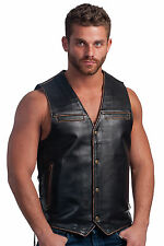 Mens Vintage Distress Brown Leather Vest with Side Laces