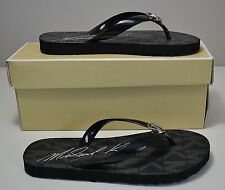 NIB MICHAEL KORS BLACK JET SET SIGNATURE RUBBER FLIP FLOP SANDALS SHOE SZ5 6 7 8