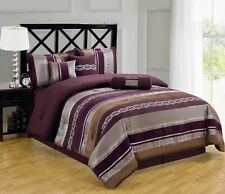 7pc Claudia Purple Brown Luxury Bedding Comforter Set Pillows Shams & Skirt