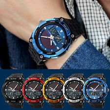 Sport Waterproof LCD Display Date Digital Rubber Band Quartz Analog Wrist Watch