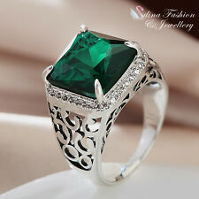 18K White Gold GP Made With Swarovski Crystal Square Cut Emerald Men`s Ring