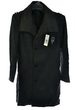 Doublju Men's Button Long Half Coat Jacket Gray Charcoal or Black, M, L