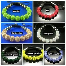 NEW Shamballa 8MM 10MM CZ Crystal 11X Disco Ball Beads Bracelet Multi coloured