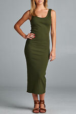 SEXY olive green TANK SCOOP NECK RACERBACK RIBBED CASUAL MAXI SUMMER DRESS