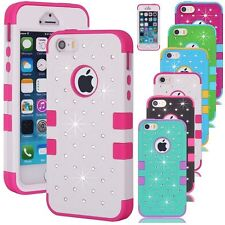 3 Layers Bling Crystals Hybrid Silicone Case Cover Skin for iPhone 4/5/5S/6 Plus