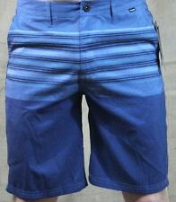 Hurley Booster Hybrid Shorts Mens Blue Striped Recycled Polyester Walkshorts NWT