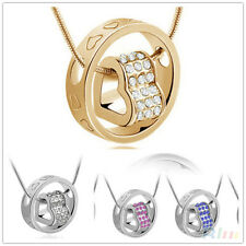 Love Heart Ring Pendant Necklace of Crystal  Rhinestone Gold Gift beauty