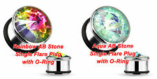 NEW Rainbow or Aqua AB Stone 316L Surgical Steel Single Flare Plug with O-Ring
