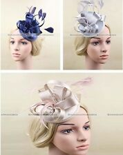 Champagne/Blue/Grey Feather Satin Loop Fascinator Hair Clip Hat Races Party sm7