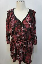 Elementz Woman Red Blend/Black W/ Gold accent Belted Ruffled Blouse Sz 3X