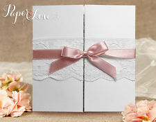 Personalised Wedding Invitations Vintage Lace Beautiful Gatefold Style Ribbon