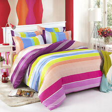 Young Stripes Love Double Queen King Size Bed Set Pillowcases Quilt Duvet Cover