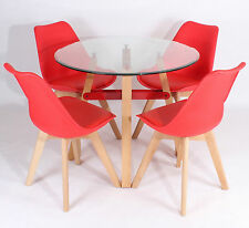 Glass Round Dining Table with 4 Wooden Beech Leg Chairs Set Charles Jacobs