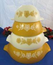 Set of 4 Pyrex BUTTERLY GOLD CINDERELLA Nesting Mixing Bowls Set
