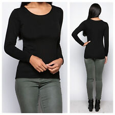NEW WOMENS LADIES CASUAL STRETCH PLAIN ROUND NECK LONG SLEEVE PLAIN TOP T SHIRT