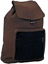 Brown or Black Mens and Womens Boho Cotton Backpacks with Faux Leather Pocket