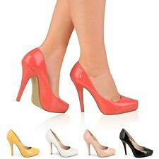 WOMENS LADIES HIGH HEEL CASUAL SMART WORK CONCEALED PLATFORM COURT SHOES SIZE