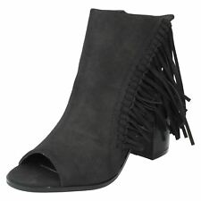 Ladies F10474 Black Synthetic Fringe peep toe Ankle boot By Spot on SALE  £19.99