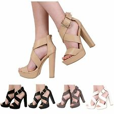 NEW LADIES WOMENS PEEP TOE PLATFORM HIGH HEEL STRAPPY SANDAL SHOES SIZE 3-8
