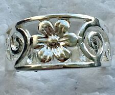 Sterling Silver PL Flower Ring Cut-out Design Band Swirl
