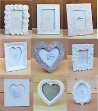 VINTAGE STYLE  WEDDING PICTURE PHOTO FRAME WHITE HEART LOVE DESIGN HOLDER