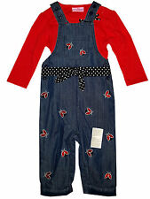 Baby Boys/Girls Winter Warm Fleece Lined Dungaree Top Set 2PCs Outfit Age 6-24 M