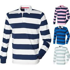 Mens Stripe Striped 100% Cotton Rugby Collar T Shirt Top