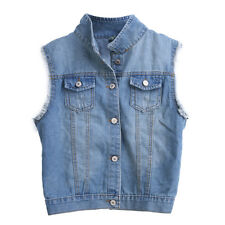 Women Vintage Frayed Cardigan Denim Jean Vest Waistcoat Jacket Coat Outerwear