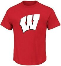 Wisconsin Badgers NCAA Majestic Bold Logo Mens Red Shirt Big & Tall Sizes