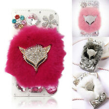 Luxury Rabbit Fur Bling Crystal Fox Flip Wallet Leather Cover Case For Cellphone