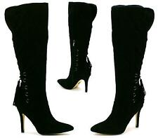 LADIES WOMENS FAUX SUEDE SEXY POINTED TOE KNEE HIGH ZIP UP STILETTO HEEL BOOTS