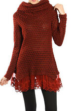 RYU Cowl Neck Knit Sweater Lace Tunic Top - Burgundy