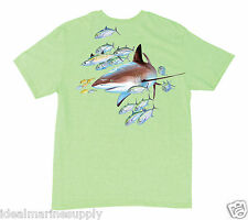 Guy Harvey Youth Short Sleeve Reef Shark Heather Lime T-Shirt. Small thru-XL