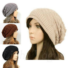 Womens Winter Plicate Baggy Beanie Knit Crochet Ski Hat oversized Xmas Cap 020