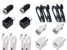 Micro USB Cable + 2 Wall + 2 Car 4x 3ft Chargers Cord for Galaxy S5 Note 3