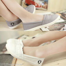Women Girls Canvas Flats Single Shoes Flat Slip On Loafers Casual Ballet Shoes