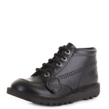 Junior Boys Kickers Kick Hi Core Black Leather Smart School Shoes Boots Size