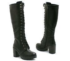 LADIES KNEE HIGH CHUNKY PLATFORM WOMENS GOTH COMBAT LACE UP BOOTS SIZE