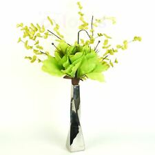 Amaryllis Posy Lime Green Silk Artificial Flower Arrangement in Vase With Filler