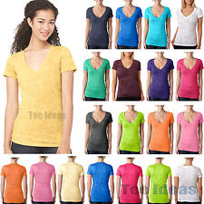 Next Level Womens Premium Fit Burnout Crossover Deep V-Neck T-Shirt S-2XL 6540
