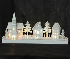 CHRISTMAS WOODEN PRE-LIT LED WARM WHITE VILLAGE NATIVITY SCENE DECORATION