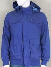 Hurley Clifton Fleece Lined Jacket Mens Blue Hooded Full Zip Front Coat New NWT
