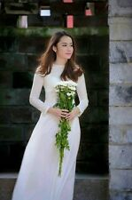 White Vietnam AO DAI CUSTOM MADE, Chiffon Dress & Satin Pant, Long Lap