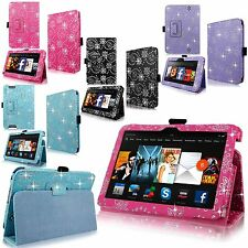 Bling Diamond Sparkly Pu Leather Flip Case Cover For Amazon Kindle Fire Tablet