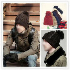 Women Men Braided Beret Baggy Knit Crochet Beanie Hat Ski Cap Winter Warm Cap 42